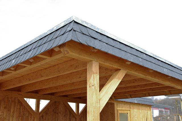 TerrassenUberdachung Holz Konfigurieren ~ Doppel Flachdachcarport aus Fichte Leimholz mit Naturschiefer