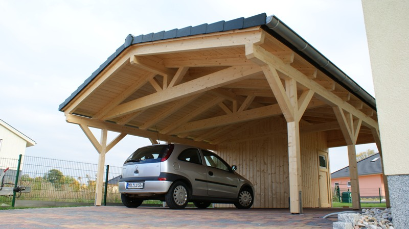 doppelcarport satteldachcarport mit ger teraum. Black Bedroom Furniture Sets. Home Design Ideas